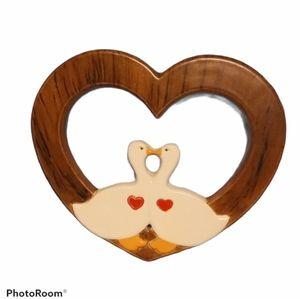 Ceramic Heart w/ Kissing Ducks - Handmade - Flawed